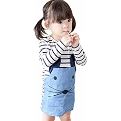 Voberry Baby Toddler Kid Girls Stripe Long-Sleeved Dress with Cute Cat Pocket (3-4 Year, Blue)