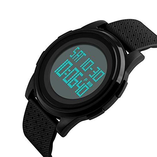 - Men's Digital Sports Watch LED Screen Electronic Military Watches and Waterproof Casual Luminous Stopwatch Alarm Simple Army Watch -Black