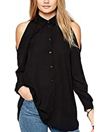 YACUN Women's Single breasted Long Sleeve Cold Shoulder Shirt Tops