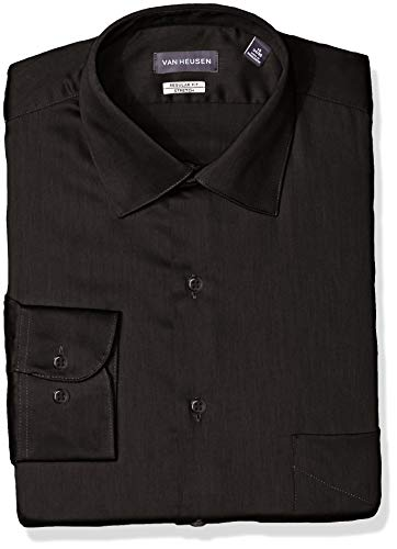 Van Heusen Men's Dress Shirts Regular Fit Lux Sateen Stretch Solid, Black, 17.5