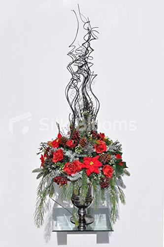 Silk Blooms Ltd 人工レッドポインセータと松の花瓶 赤いベリーとカーリーウッドのアレンジメント B07H8GPHJ7