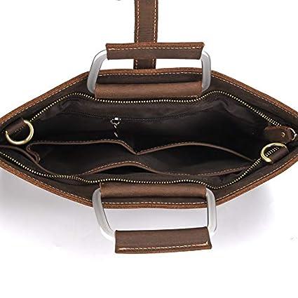 Coffee Formal Retro Crazy-horse Leather Briefcase Shoulder Laptop Business Bag for Men