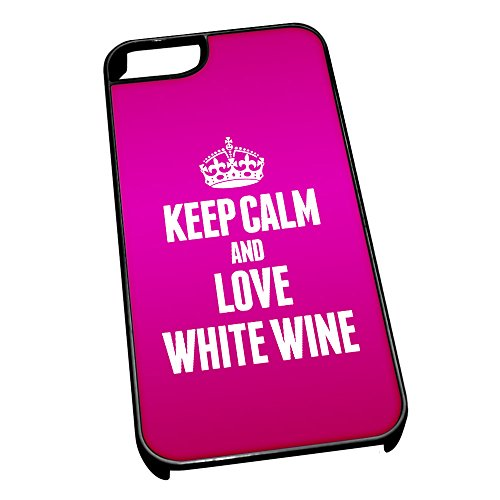 Nero cover per iPhone 5/5S 1659Pink Keep Calm and Love vino bianco