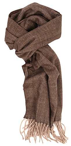 Love Lakeside-Men's Cashmere Feel Winter Plaid Scarf (One, Brown (Brown Viscose Scarf)