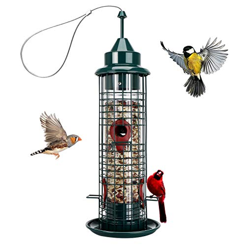 Bird Feeder with 4 Feeding Ports,Metal Wild Birdfeeder with Steel Hanger,1.3-Pond Seed Capacity