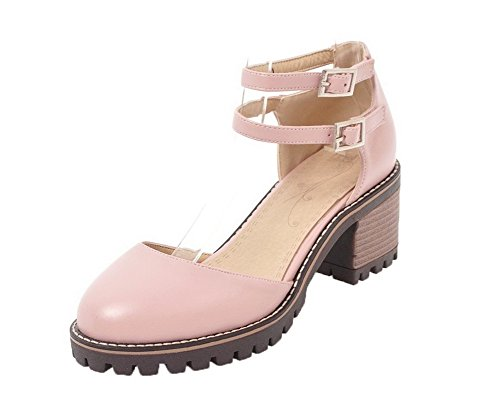 Buckle Women's Pu Kitten Pink Heels Sandals Toe WeenFashion 43 Closed Solid ATO6nq