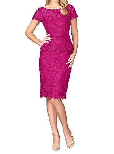 Charmant Knielang Abendkleider Pink Fesltichkleider Promkleider Brautmutterkleider Spitze Kurzarm Damen Navy Blau Etuikleider rqwtTAr