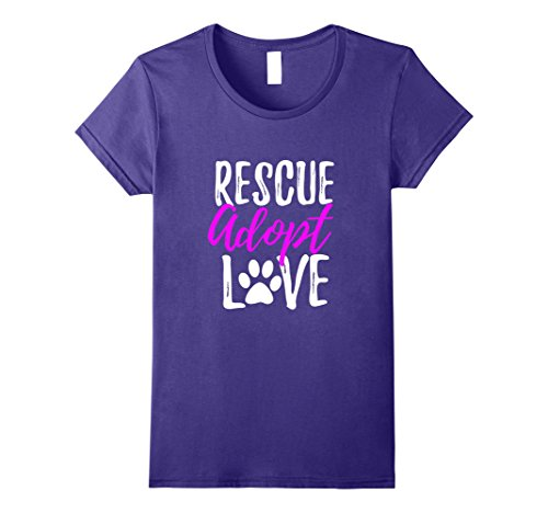 Womens Rescue Adopt Love T-Shirt Funny as Dog or Cat Lover Gift Medium Purple
