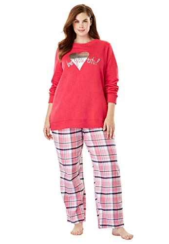 (Dreams & Co. Women's Plus Size Fleece Sweatshirt & Pant Pajama Set - Pink Burst Beautiful, 18/20)