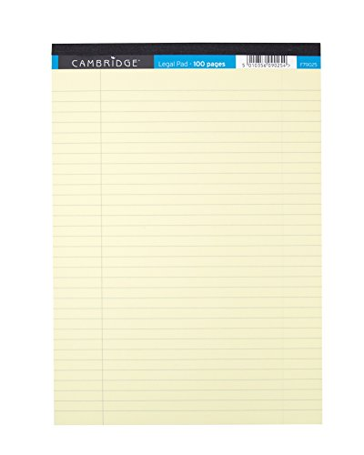 Cambridge Legal Pads - Cambridge A4 Legal Pad Ruled with Margin 100 Page, Yellow, 10 Pads