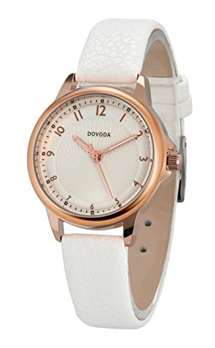 DOVODA Womens Watch Quartz Casual Dress Watches Rose Gold Small Face White Leather