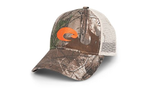 Costa Del Mar Mesh Hat with Orange Logo, Realtree Xtra Camo/