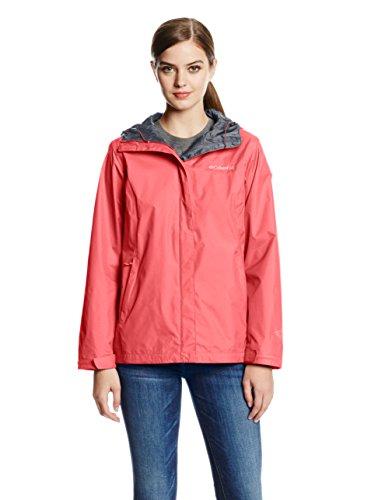 (Columbia Women's Arcadia II Waterproof Breathable Jacket with Packable Hood, Bright Geranium, X-Large)