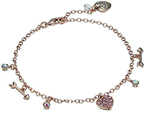 Betsey Johnson Heart Bracelet (Betsey Johnson Women's Rose Gold Candy Heart Anklet, Fuchsia)
