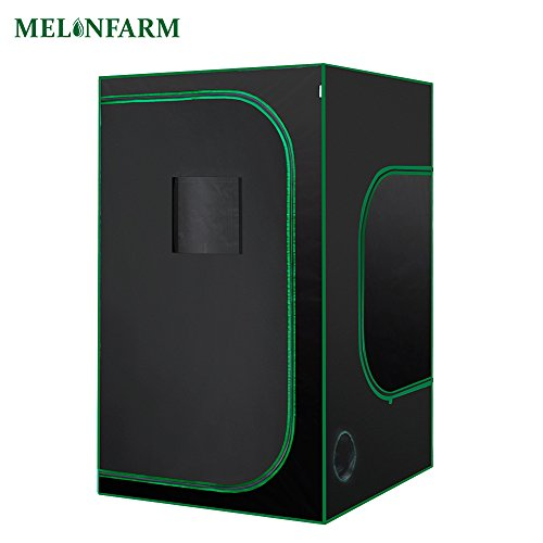 MELONFARM Mylar Hydroponic 48''X48''X80'' Grow Tent With Removable Floor Tray for Indoor Seedling Plant Growing 4'x4' by MELONFARM