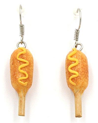 Polymer Clay Handmade Corn Dogs with Mustard Earrings