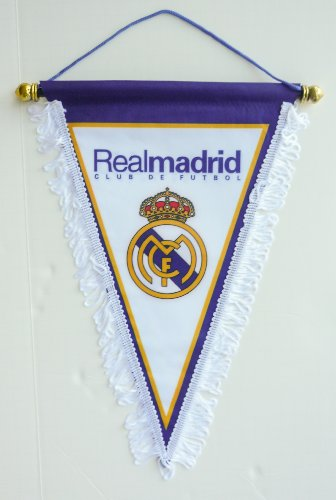 REAL MADRID CF BADGE LOGO FOOTBALL SOCCER TRIANGLE PENNANT BANNER