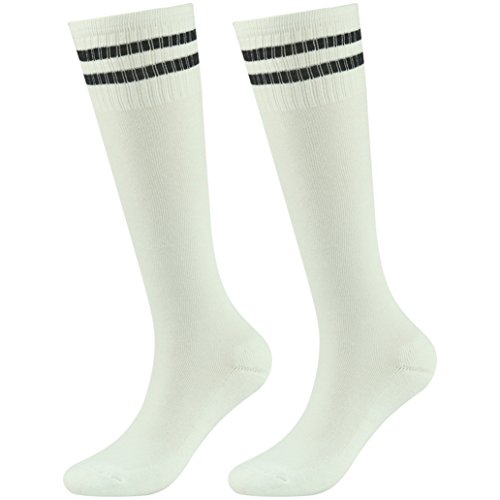 - Soccer Socks, saillsen boys and Girls Team Cheerleading Knee High Cushioned Football Socks, 2 Pairs, White Black-Stripe