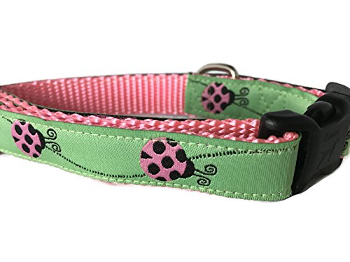 (CANINEDESIGN QUALITY DOG COLLARS Ladybug Dog Collar, Caninedesign, Green, Pink, 1 inch wide, adjustable, nylon, medium and large (Small 9-13))