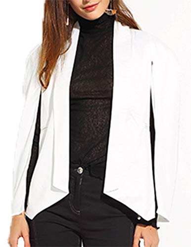 (ASMAX HaoDuoYi Womens Cape Sim Fit Split Bussiness Blazer Jacket Bright White)