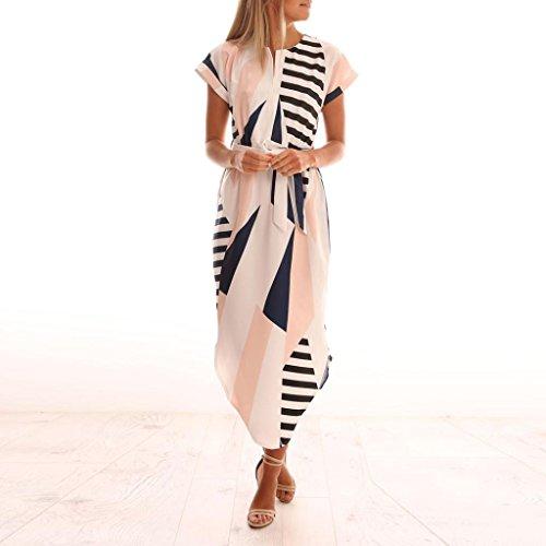 V Occasionnels Robe Courtes ImpriméE Robe Motif Longue Maxi Manches Ceinture Avec sundress Fathoit à Ete Blanc Femme Femmes vqpXwp