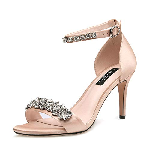 onlymaker Women's Ankle Strap Strappy Rhinestone Sandals Jewel Embellished High Heel Stiletto Satin Party Wedding Shoes Nude 14 M US