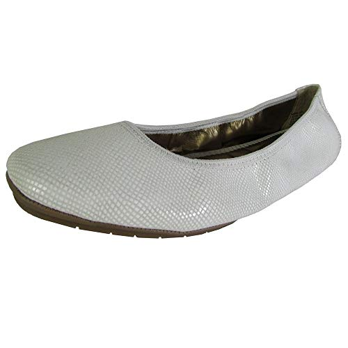 (Me Too Womens Icon Ballet Flat Shoes, White Snake 8.5 )
