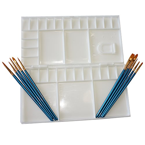 Large Folding watercolor palette with 33 mixing wells, Palette folds in half to for enclosed Palette, and 10 piece Nylon Paint Brush set for Watercolor, Acrylic, and Oil painting art set use. by Crafty Colors