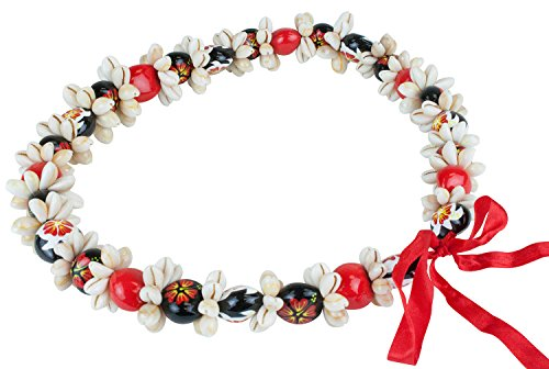 Barbra Collection Various Style of Kukui Nut Necklaces with Cowrie Shell (Red)