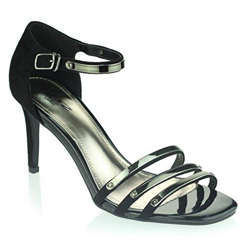 Mujer Señoras Noche Fiesta de bodas Paseo Cuadrado Punta abierta Tacón medio alto Sandalias Zapatos tamaño Negro