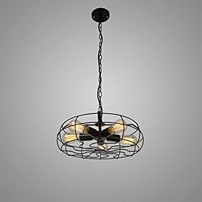 Electro_BP Vintage Style Barn Metal Art Hanging Ceiling Chandelier Max 300W With 5 Lights Painted Finish