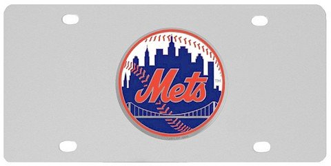 Mlb Stainless Steel License Plate (New York Mets Stainless Steel Logo License)