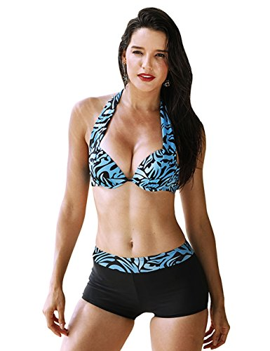 Fancyqube Women's Sexy Two-Piece Set Print Plus Fertilizer Split Bikini Swimwear Blue (Shop Fertilizers)