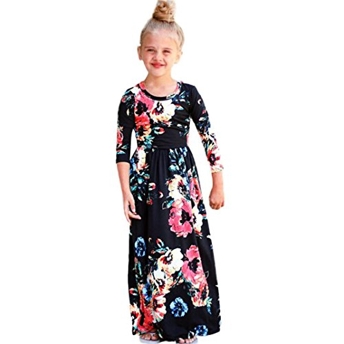 - WensLTD Clearance! Girls Floral Flared Pocket Maxi Three-quarter Sleeves Long Maxi Princess Party Dress (5T, Black)