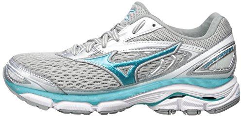 51dvUmPi1xL Mizuno Running Women's Wave Inspire 13 Shoes, Silver/Tile Blue/Griffin, 10 B US