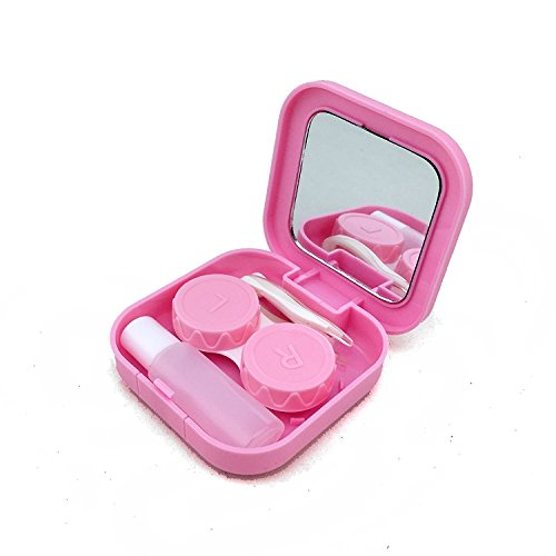 Adecco LLC Portable Contact Lens Case Travel Kit Mirror +bottle + tweezers Container Holder (pink) (Case Travel Kit)