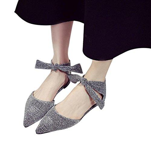 Transer® Damen Flach Mokassins Kunstleder+Gummi Einzelschuhe Bowknot Ankle-strap Spitzen Schwarz Grau Braun Schuhe Wohnungen Grau