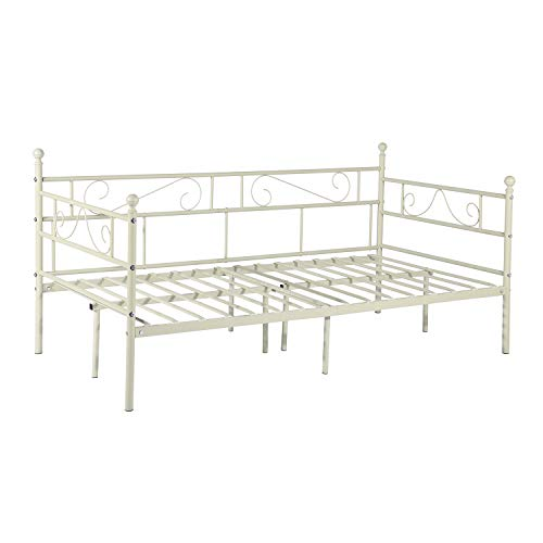 GreenForest Daybed Metal Bed Frame Twin Size with Headboard and Stable Steel Slats Mattress Foundation Platform Bed Base Boxspring Replacement for Living Room Guest Room Cream White