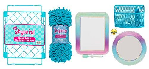 Deluxe School Locker Organizer Kit - Accessories and Decoration Set with Shelf, Rug, Mirror, Message Board and Bin (Aqua Ombre)