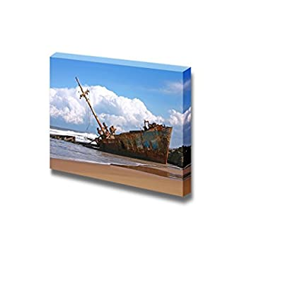 Canvas Prints Wall Art - Ship Wreck with Clouds and Beach | Modern Wall Decor/Home Decoration Stretched Gallery Canvas Wrap Giclee Print & Ready to Hang - 12