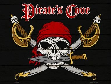 Pirates Cove Metal Novelty Parking Sign P-1458 (Pirates Sign Cove)