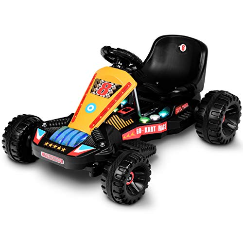 Costzon Electric Go Cart, 6V Battery Powered 4 Wheel Racer for Kids, Outdoor Ride On Toy Car with LED Flash Light, Music, Forward/Backward Functions, 3-Position Adjustable Seat (Black)