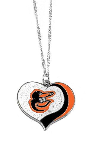 aminco Baltimore Orioles MLB Sports Team Logo Charm Gift Glitter Heart Necklace