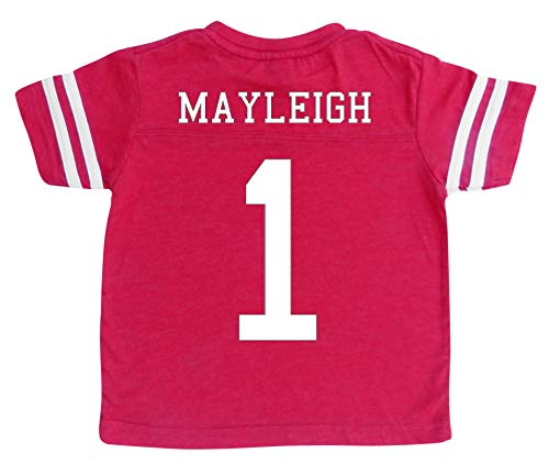 Custom Football Sport Jersey Toddler & Child Personalized with Name and Number (2T, Vintage Red) -