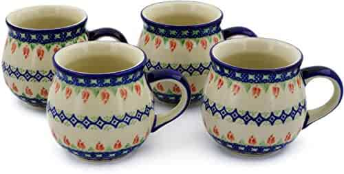 Polish Pottery Set of Four 12oz Mugs (Tulips And Diamonds Theme) + Certificate of Authenticity