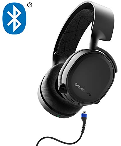 SteelSeries Arctis 3 Bluetooth (2019 Edition) Wired Gaming Headset + Bluetooth - for Nintendo Switch, PC, Playstation 4, Xbox One, VR, Android, and iOS - Black (Blue Wireless Headset)