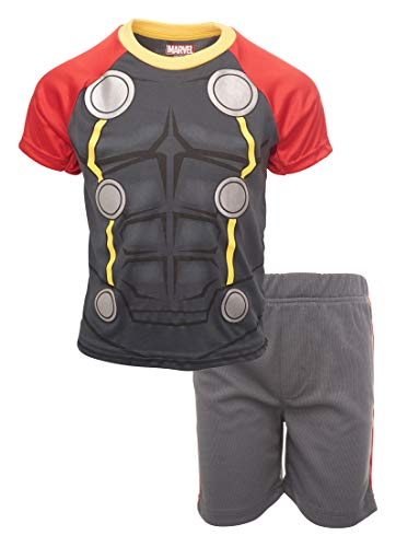 Marvel Avengers Black Panther Spiderman Hulk Boys' Athletic T-Shirt & Mesh Shorts Set