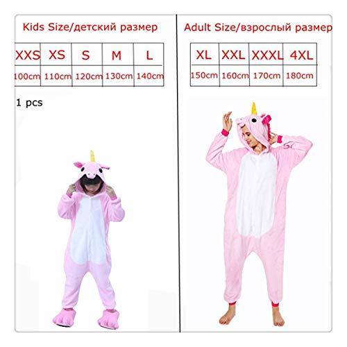 Pink Unicorn Pajamas Sets Flannel Kids Animal Pajamas Winter Nightwear Zipper Sleepwear for Women Men Adults Halloween Pink XS -