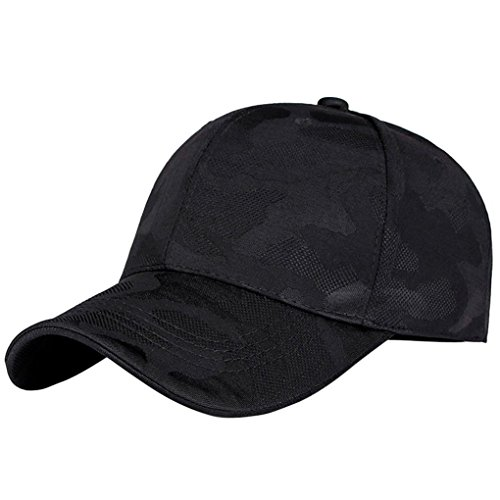 (SUJING Baseball Cap, Hip-Hop Hat Camouflage Snapback Hat Sun Caps Adjustable Trucker Summer Hats (Black))