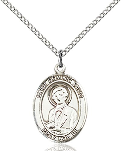 (Sterling Silver Saint Dominic Savio Medal Pendant, 3/4 Inch)